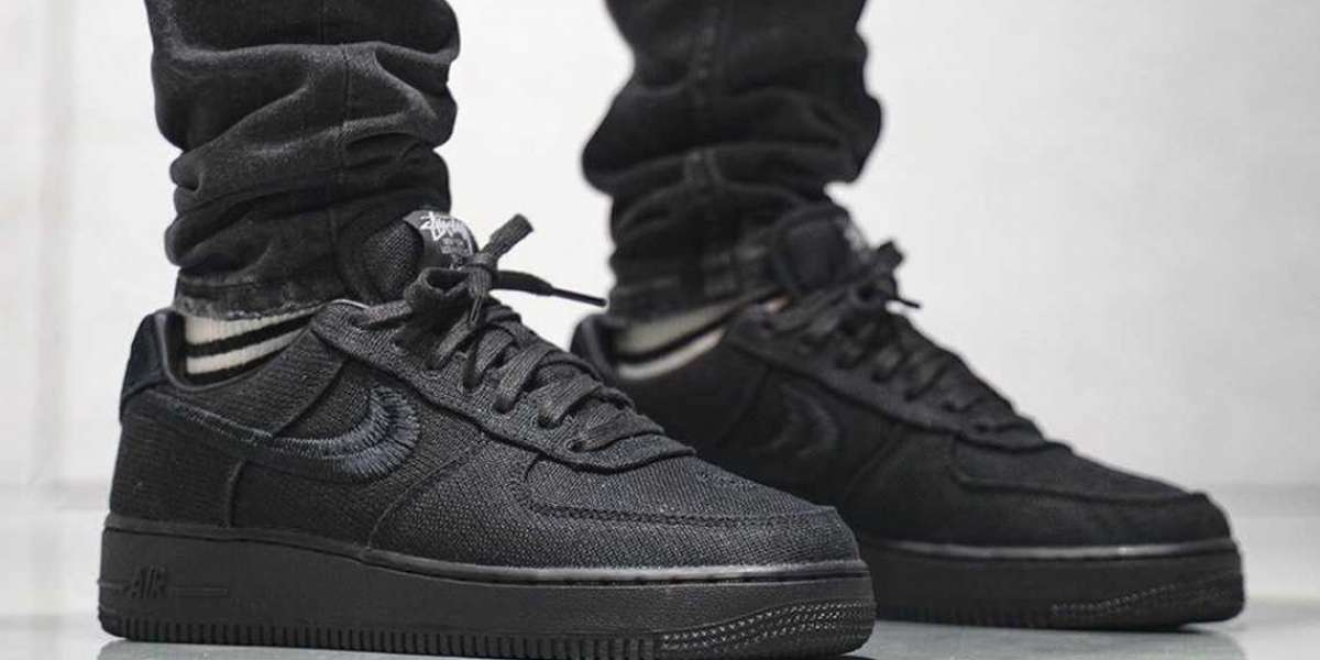 "Hot Sale Stussy x Nike Air Force 1 07  ""Triple Black""  Lifestyle Shoes"